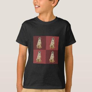 Meerkatのポップアートのえんじ色の正方形 Tシャツ