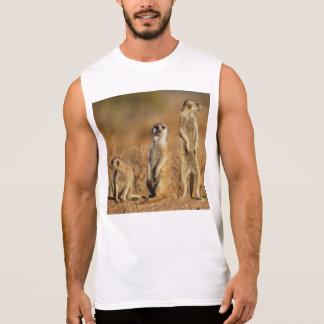Meerkatの動物のサファリのかわいい毛皮で覆われた平和愛 袖なしシャツ