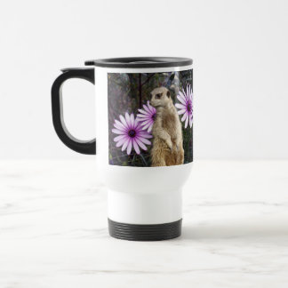 Meerkat_And_Daisies、_White_Travel_Coffee_Mug. トラベルマグ