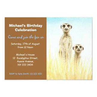 Meerkatsの誕生日のパーティの招待状 カード