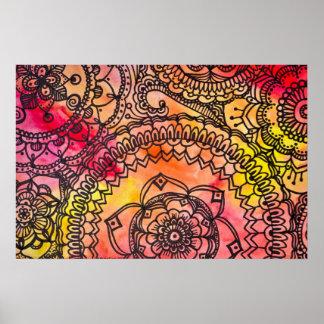 Megaflora著暖かい曼荼羅のコラージュポスター ポスター