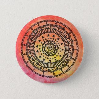 Megaflora著暖かい曼荼羅ボタン 5.7cm 丸型バッジ