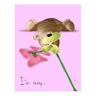 Megg: 花を持つかわいいテディー・ベア、私は残念です ポストカード