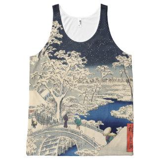 Meguroおよび日没の丘のドラム橋 オールオーバープリントタンクトップ