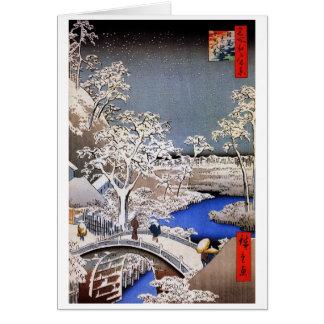 Meguroのドラム橋および日没の丘、Hiroshige カード
