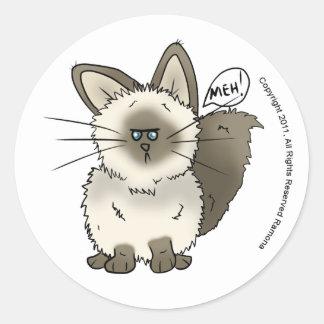 Meh猫のステッカー ラウンドシール