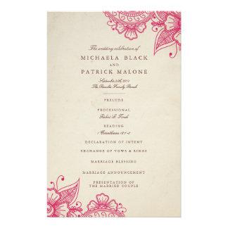 Mehandiのモダンな結婚式プログラム チラシ