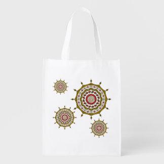 Mehndiのファンタジーの金ゴールドの再使用可能な買い物袋 エコバッグ