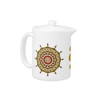 Mehndiのファンタジーの金ゴールドの茶ポット