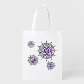 Mehndiのファンタジーの銀の再使用可能な買い物袋 エコバッグ