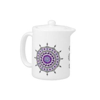 Mehndiのファンタジーの銀の茶ポット