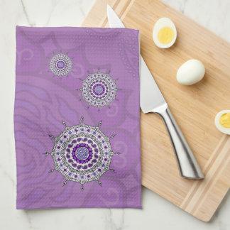Mehndiのファンタジーの銀手タオル キッチンタオル