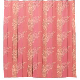mehndiペーズリーのグラデーションな珊瑚のストライブ柄 シャワーカーテン