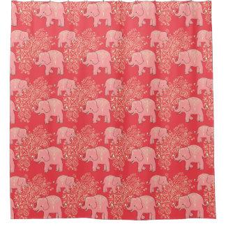 mehndi象のシャワー・カーテン、珊瑚およびモモ シャワーカーテン
