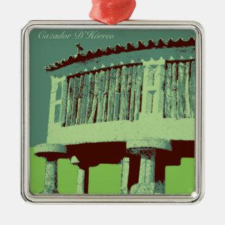 Meiro (Bueu)からの緑のCazador D'Hórreo メタルオーナメント