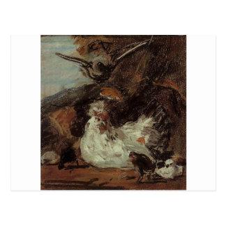 Melchiorのd'Hondecoeterの後の雌鶏そして彼女のひよこ ポストカード