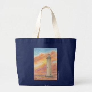 Melissa Bensonの日没の灯台 ラージトートバッグ