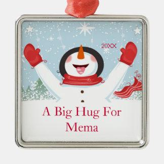 Memaのクリスマスの雪だるまのオーナメントのための抱擁 メタルオーナメント