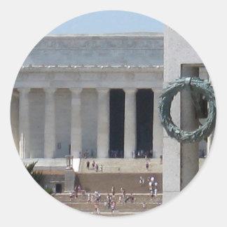 memeorial WWIIからのリンカーン記念館の写真の眺め ラウンドシール
