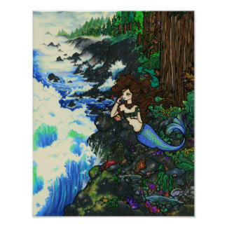 """Mendocino人魚""の妖精のファンタジーの海岸の海の芸術 ポスター"