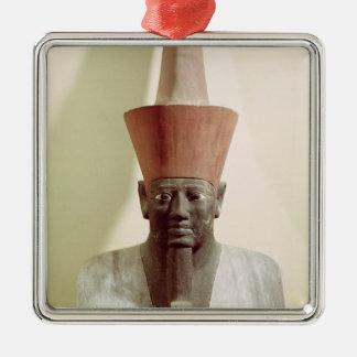 Mentuhotep IIの彫像の詳細 シルバーカラー正方形オーナメント
