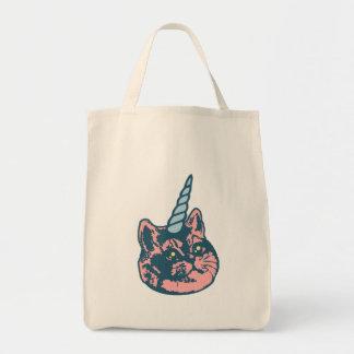 Meowgical Kittycornの荒い息猫のミーム トートバッグ