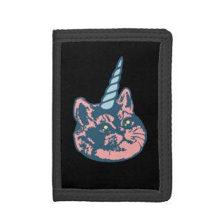 Meowgical Kittycornの荒い息猫のミーム ナイロン三つ折りウォレット