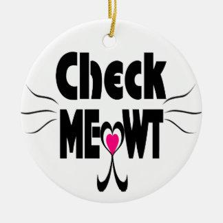 Meowt愛らしい猫の顔を点検して下さい セラミックオーナメント