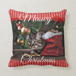 Meowyのクリスマスのおもしろいな子猫猫の枕 クッション