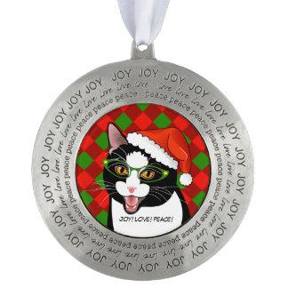 Meowyのクリスマスのヒップスターのタキシード猫のオーナメント オーナメント