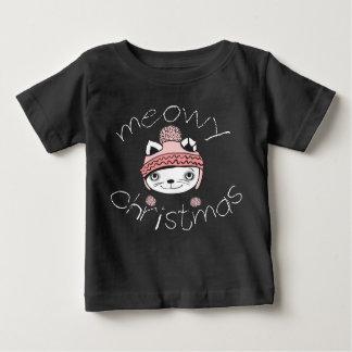 Meowyのクリスマスのベビーの罰金のジャージーのTシャツ ベビーTシャツ