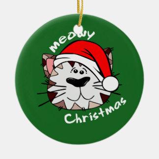 Meowyのクリスマスの円のオーナメント(緑) セラミックオーナメント