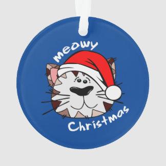 Meowyのクリスマスの円のオーナメント(青い) オーナメント