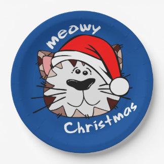"""Meowyのクリスマスの紙皿9"""" (青) ペーパープレート"""