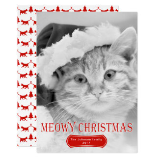 Meowyのクリスマスの赤い子ネコペットクリスマスの写真 12.7 X 17.8 インビテーションカード