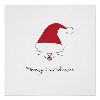 Meowyのクリスマスのpurfectポスター休日の壁の芸術 ポスター