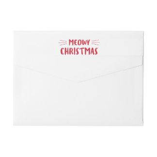 Meowyのクリスマス|かわいい猫の休日 ラップアラウンドラベル