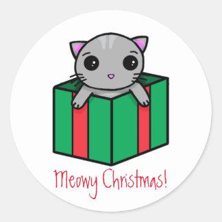Meowyのクリスマス ラウンドシール