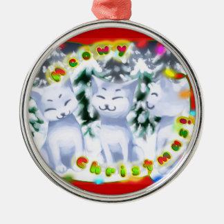 Meowyのクリスマス! - decoのボーダーが付いている雪の猫ちゃん メタルオーナメント
