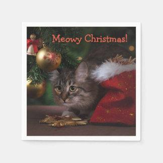 """""""Meowyクリスマス""""のカクテルのナプキン スタンダードカクテルナプキン"""