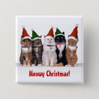 """Meowyクリスマス!"" 帽子の猫 5.1cm 正方形バッジ"