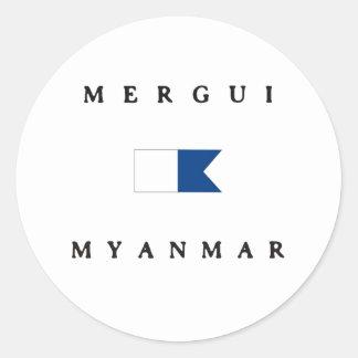 Merguiミャンマーのアルファ飛び込みの旗 ラウンドシール