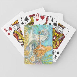 Merhorseのユニコーンのカジノカードに乗っている人魚 トランプ