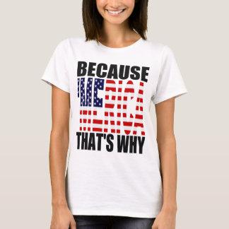 「MERICAそういうわけで米国の旗のワイシャツので Tシャツ