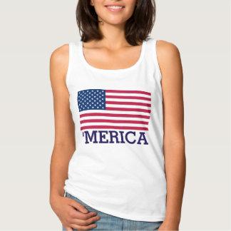 「Mericaのかわいい米国旗 タンクトップ
