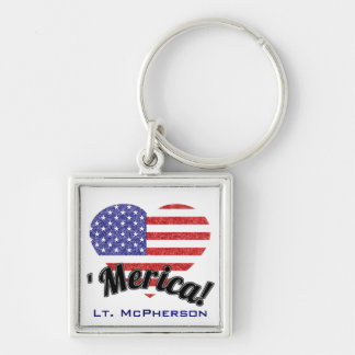 「Mericaのための戦い! 愛国心が強いハート米国の旗 キーホルダー
