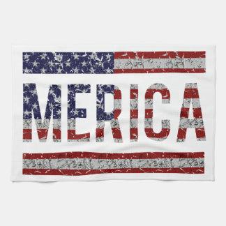 MERICA -アメリカのプライドの俗語米国の旗 キッチンタオル