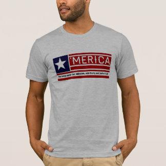 MERICA -米国の旗の形のCustomizeableの文字 Tシャツ