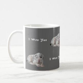 Merlequinのグレートデーンの子犬のコーヒー・マグ コーヒーマグカップ