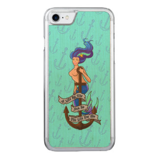 mermaid_msaquapurple_slimwood carved iPhone 7 ケース